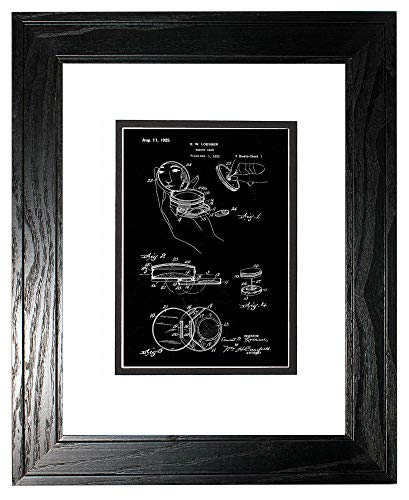 - Vanity Case Patent Art Black Matte Print in a Black Pine Wood Frame with a Double Mat (18