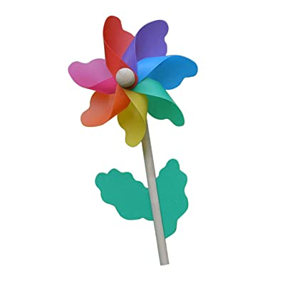 FLAMEER Wood Wand Rainbow Pinwheel Windmill Wind Spinner Toy for Lawn & Garden Flower Pot Ornament Decor - 33cm Height : Garden & Outdoor