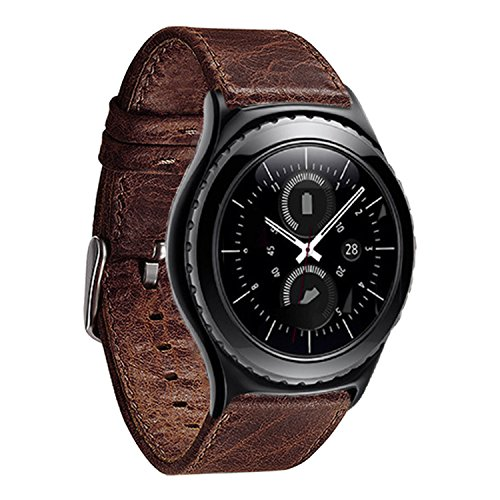 Sasairy Crazy Horse Leather Sport Watch Band for Samsung Galaxy Gear S3 Frontier/Classic (Fan Watch Gear)