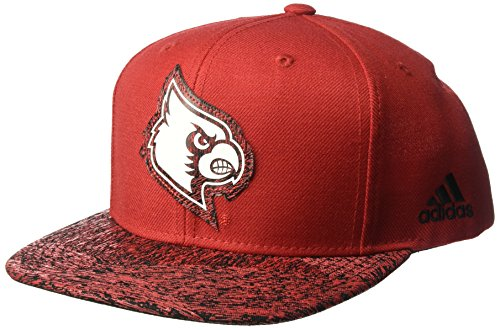 (NCAA Louisville Cardinals Adult Men White Noise Flat Brim Snapback, One Size, Red)