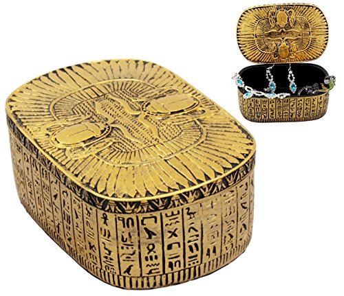 Ebros Golden Ancient Egyptian Dual Cobra Winged Scarab Beetles Jewelry Box Figurine Decorative Trinket Box Statue