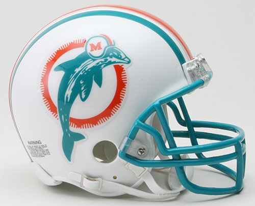 1996 Riddell Mini - Miami Dolphins 1980-1996 Throwback Riddell Mini Football Helmet - New in Riddell Box