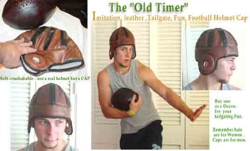 Old Timer Imitation Leather Football Helmet Cap -