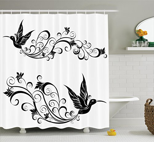 Ambesonne Hummingbirds Decorations Collection, Tattoo Hummingbird Silhouette Wildlife Decorative Curvy Stems Blooms Imagery, Polyester Fabric Bathroom Shower Curtain Set, 75 Inches Long, Black White