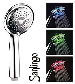 3 Farben LED Handbrause mit 3 Strahlarten wechselbar per Knopfdruck LED Duschkopf mit Temperaturanzeige
