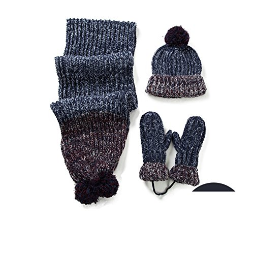 Hat scarf gloves set of three/In the winter and cashmere thick warm wool knit suits-B One Size