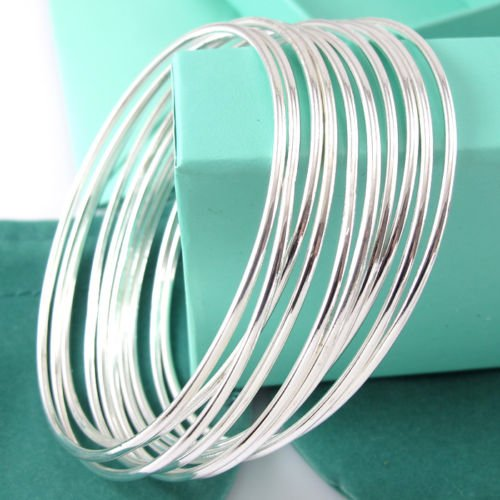 paweena Classic 10pcs Lots Wholesale 925 Silver Winsome Bracelet Cuff Bangle