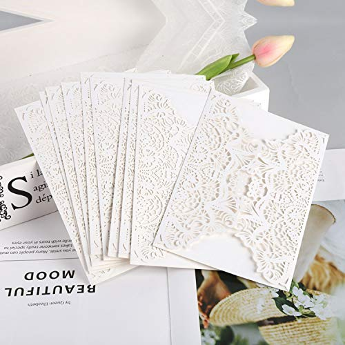 (OUOK White 10pcs Vertical Laser Cut Butterfly Invitations Cards Kits for Wedding Bridal Shower Birthday Anniversary Party,1)