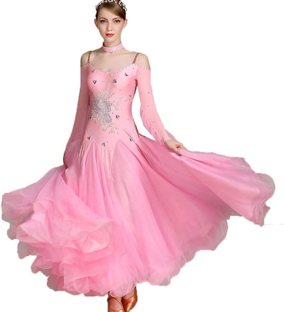 大人の女の子標準社交ダンスドレススリングラインストーンコンペティションドレス素晴らしいチュールAライン背中が大きく開いモダンダンススカート (Color : Light ピンク, Size : XXL) Light ピンク XX-Large
