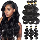 Mermaid Hair 8A Brazilian Body Wave Virgin Hair Weave 3 Bundles 100% Unprocessed Human Hair Natural Black Color (12 14 16) Review