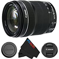 Canon EF-S 18-135mm IS STM Lens for Canon SLR Cameras + PixiBytes Cleaning Cloth (Frustration Free Packaging)