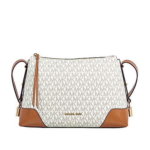 (Michael Kors Crosby Medium Signature Logo Print Messenger Bag - Vanilla/Acorn, White / Brown, Large)