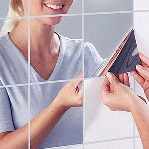 WRITE YOUR REVIEW Onbio 9pcs Square Mirror Tile Wall Stickers DIY 3D Decal Mosaic Home Decorations
