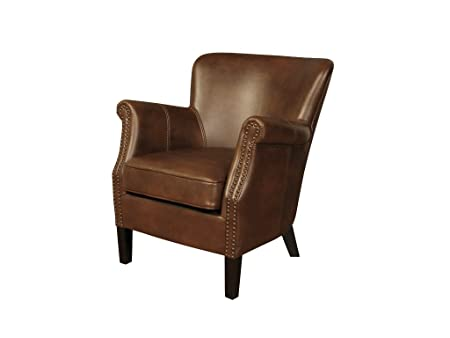 Henley Modern Leather Armchair   Leather Air Fireside Chair   Finish : Tan    Living Room