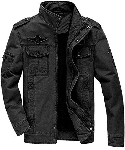 DUNKINBO Men's Cotton Stand Collar Military Windbreaker Jacket Outdoor Casual Coat (Black,XL) - Black Mens Military Jacket