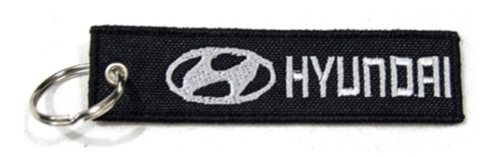 Hyundai Quality Woven Fabric Keyring Black Silver Key Ring Chain Car Brand