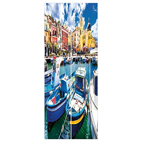 3d Door Wall Mural Wallpaper Stickers [ Italy,Colorful Procida Island with Fishing Boats Summertime Tourism Vacation Travel Theme Decorative,Multicolor ] Mural Door Wall Stickers Wallpaper Mural DIY H (Italy Fishing Boats)