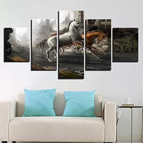 SDALD Impresión de Lienzo 5 Pieza 200x100CM Cuadro sobre lienzo Animal caballo corriendo paisaje Cuadros para sala de estar con 5 paneles, Cuadros de decoración moderna Pintura de Paneles múltiples Cu