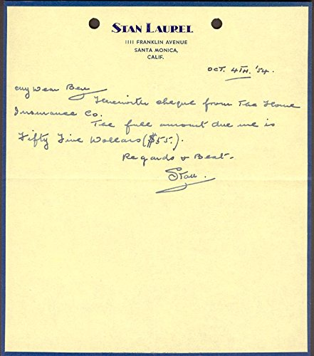 Laurel & Hardy (Stan Laurel) – Autograph Letter Signed 10/04/1954