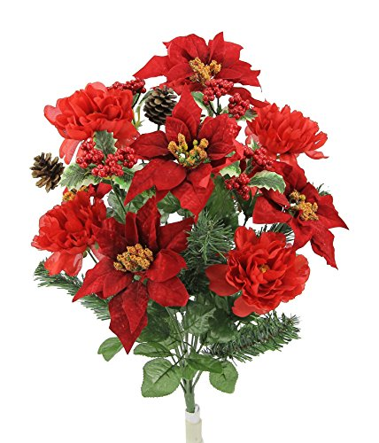 Xmas Poinsettia - Admired By Nature GPB6816-Red 18 Stems Faux Peony Velvet Poinsettia X'Mas Bush, Red