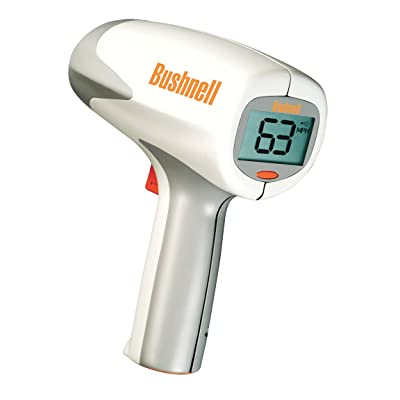 Bushnell 101911 Velocity Speed Gun, 10-110 mph - 90 feet away / 16-177 kph - 27 meters away Baseball radar gun / Softball / Tennis, 10-200 mph - 1500+ feet away/ 16-322 kph -457 meters away Auto Racing, Easy to use - Bushnell