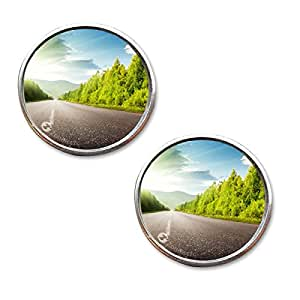 Zone Tech Rearview Blind Sport Mirrors - 2-Pack Premium Quality 2 Inch Stick-On Aluminum Border Thin Car Blind Sport Mirrors