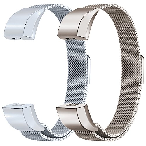 Oitom Fitbit Alta HR Accessory Bands and Fitbit Alta Band,New Fashion Stainless Steel Milanese Loop Wristband (2 Pack Pearl White+Champagne, Small - Steel Metal New