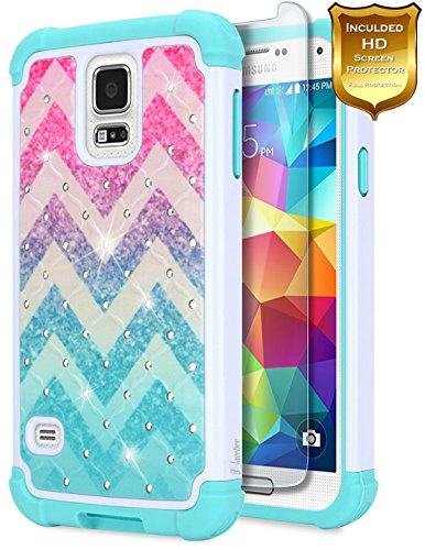 Galaxy S5 Case w/[Screen Protector Premium Clear], NageBee Glitter Diamond Hybrid Protective Cover [Shiny Studded Rhinestone Bling] Sparkle Shiny Girls Cute Case Designed for Samsung Galaxy S5 -Wave ()