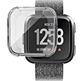 Ljnuanrg for Fitbit Versa Screen Protector Case ,Electroplated TPU All-Inclusive Case (Clear, ONE)
