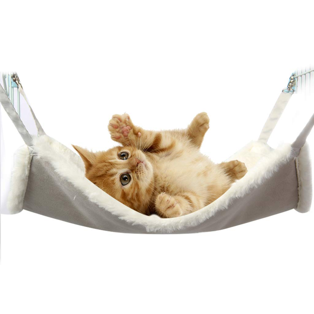 White Small White Small Pet Hanging Bed Mat Skin-Friendly Fluff Material, Pet Swing Bed Reversible 2 Sides, Cat Sleeping Bed with Chrome Plated Metal Buckle,White,S