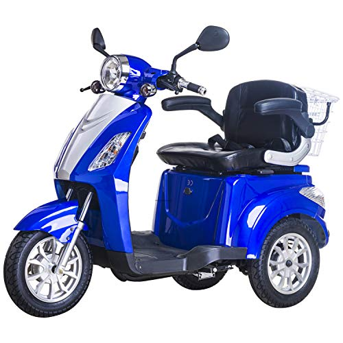 3 Wheeled Electric Mobility Scooter Tricycle Recreational 500W 8 mph/16 mph (Blue)
