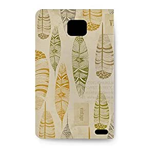 Leather Folio Phone Case For Samsung Galaxy S2 i9100 Leather Folio - Vintage Feathers Tribal Back Soft