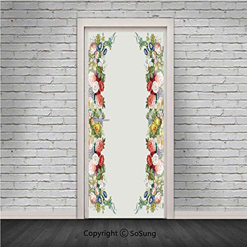 - Victorian Decor Door Wall Mural Wallpaper Stickers,Rose Garland in Pastel Tones Jasmine Cornflower Bouquet Classic Bloom Graphic,Vinyl Removable 3D Decals 30.4x78.7/2 Pieces set,for Home Decor Red Yel