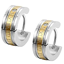 Flongo Men's Classic Biker Stainless Steel Engraved Roman Numerals Classic Polished Hoop Hinged Earrings