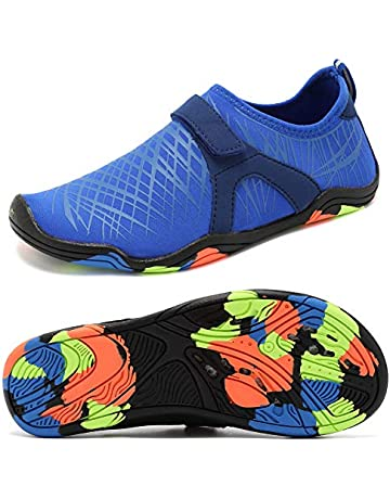 5dc7a01a87d2 Boys   Girls Water Shoes Lightweight Comfort Sole Easy Walking Athletic  Slip on Aqua Sock(