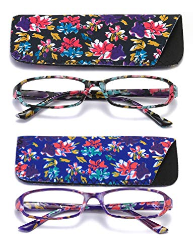 SOOLALA 2-Pair Fashionable Spring Hinge Rectangular Reading Glasses w/Matching Pouch (2 Pairs/Black and Green, 3.5)