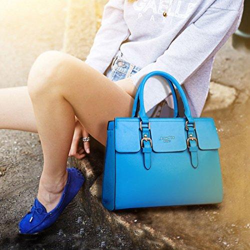 5x Classic Messenger Bag Kunstleder Schultertasche für Frauen Handtasche Set schwarz hellrosa seeblau YmvbWC
