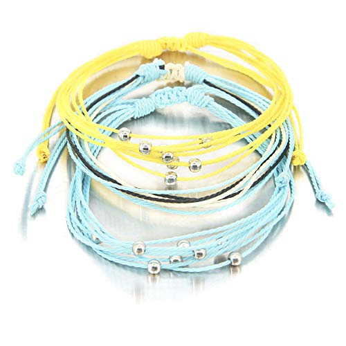 3 Pieces Braided Rope Bracelet Waterproof String Ocean Surfer Bracelet Colorful Beaded Boho Charms for Women Girl