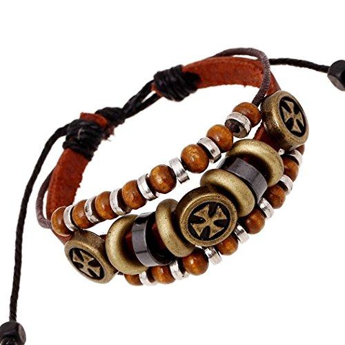 [Handmade Prayer Wood Beads Cross Brown Leather Cuff Wrap Bracelet] (Hit Girl Costume Ideas)
