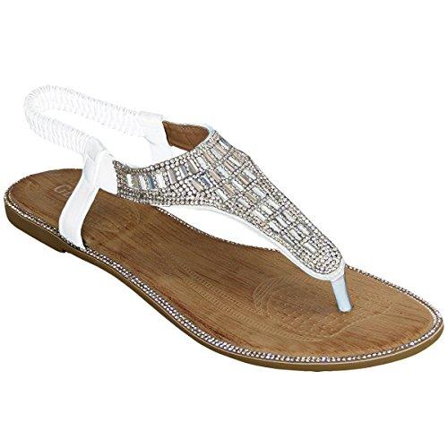 Womens Stylish Diamante Sling Back Summer Sandals White JwgMDYsV