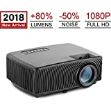 Mini Projector, Gzunelic 2018 New +80% lumens - 50% Noise Max 180 Display, Led Video Portable LCD Home Theater Proyector Support 1080p Full HD, Compatible with USB HDMI AV VGA Audio