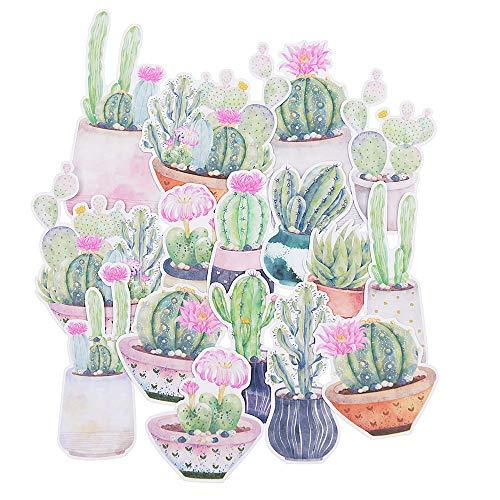 16 Pieces Cactus Waterproof Stickers for Laptop, Water Bottles, Fridge, Daily Planner, Junk Bullet Journal, Scrapbook