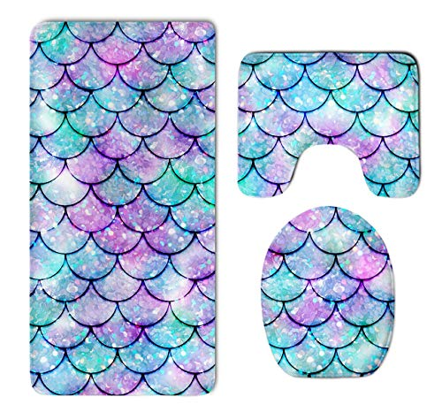 HOMESTORES Beautiful Sparkling Mermaid Scales Thicken Skidproof Toilet Seat U Shaped Cover Bath Mat Lid Cover
