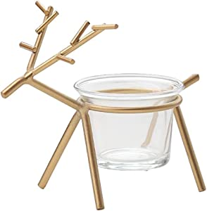 ZODSFG Wine Opener Golden Reindeer Candlestick Metal Candlestick, Simple Reindeer Candlestick Home Table DecorationsHome Farm Cup Saucer, STHMG