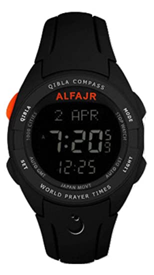 Alfajr WQ-18 Black Qibla Compass Nimaz/Prayer/Azan Watch with Rubber