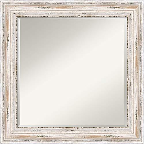 Framed Vanity Mirror   Bathroom Mirrors for Wall   Alexandria White Wash Mirror Frame   Solid Wood Mirror   Medium Mirror   25.12 x 25.12