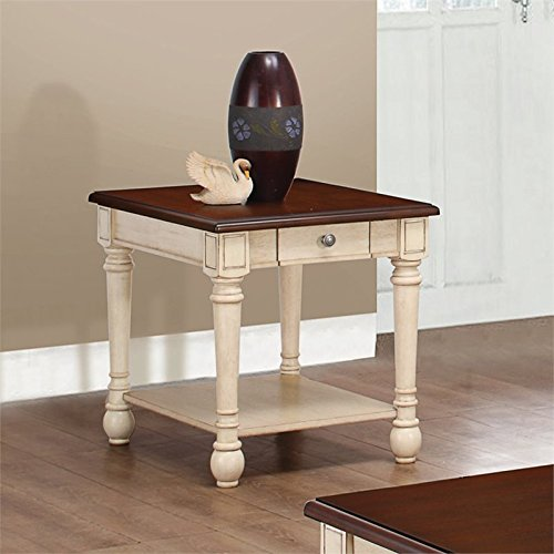 Coaster Transitional Dark Brown Antique White Two Toned End Table