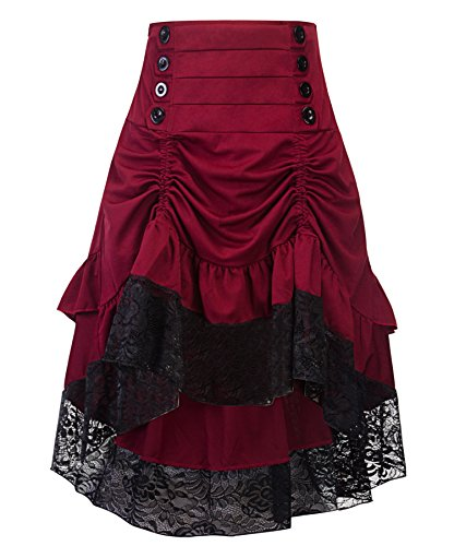Crazycatz Women's Vintage Steampunk Victorian Goth Lace Party Skirt Front Button Low high Skirt