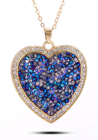 Celena Cole Jewellery by YouBella : Designer Crystal Heart Pendant Necklace for Girls and Women