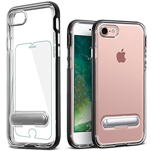 iPhone 7 Case, iPhone 8 Case, ICNOVO Soft TPU Cover Anti-Scratch Protective Kit with [Tempered Glass Screen Protector] and Magnetic Kickstand Holder Protective Cover for 4.7